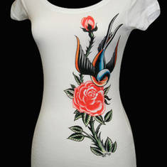 Womens Sparrow & Rose Tee