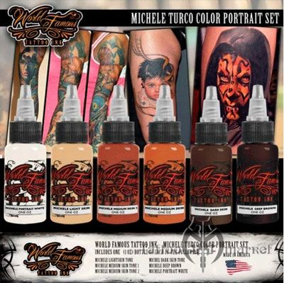 Краска World Famous Tattoo Ink Michele Turco Bottle Portrait Set - 6шт