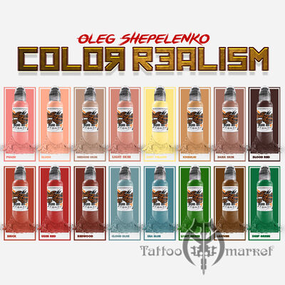 Краска World Famous Tattoo Ink Oleg Shepelenko 16 Bottle Set