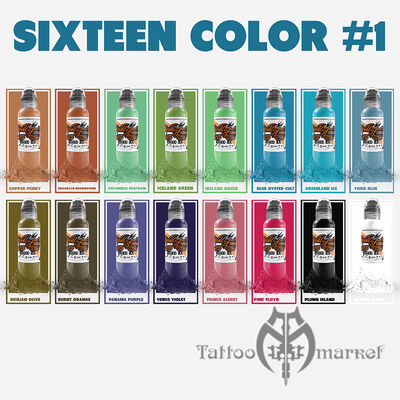 Краска World Famous Tattoo Ink World Famous 16 Color Ink Set #1