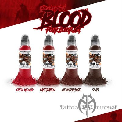 Краска World Famous Tattoo Ink MAKS KORNEV'S BLOOD COLOR SET - 4шт