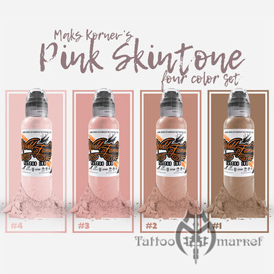 Краска World Famous Tattoo Ink MAKS KORNEV'S PINK SKINTONE SET - 4шт