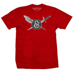 Ink dagger tattoo quill logo mens tee (red)