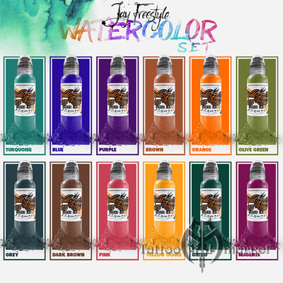 Краска World Famous Tattoo Ink Jay Freestyle Watercolor Ink Set 12шт