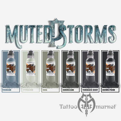 Краска World Famous Tattoo Ink Poch Muted Storm 6шт