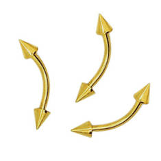 """Микро-бананы """"золотое анодирование"""" с шипами 4мм"""