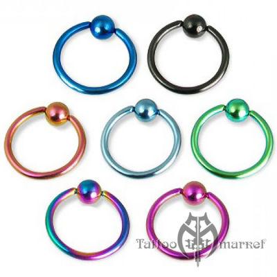 """Кольцо """"Цветное анодирование"""", диаметр 13мм, шарик 5мм"""
