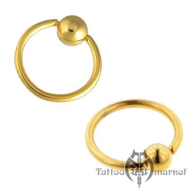 """Кольцо """"Золотое анодирование"""", толщина 1,2мм, шарик 3мм"""