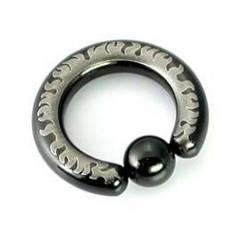 Кольцо с пламенем (черная линия), диаметр 15мм, толщина 2,5мм