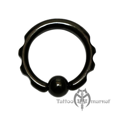 Кольцо фигурное с шариком (черная линия)