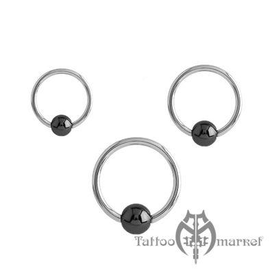 Кольцо с гематитовым шариком, толщина 2 мм, шарик 5 мм