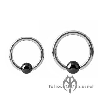 Кольцо с гематитовым шариком, толщина 3 мм, шарик 6 мм