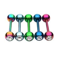 """Штанга """"Цветное анодирование с 1 камнем"""", шарики 6мм, длина 16мм"""