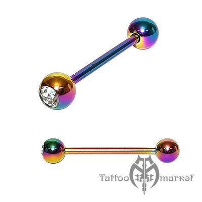 """Штанга """"Цветное анодирование с 1 камнем"""", шарики 6мм, длина 22мм"""