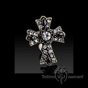 Пирсинг в пупок – Крест с Камнями