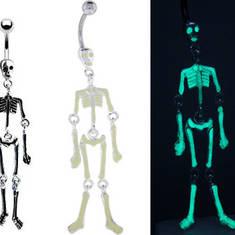 Пирсинг в пупок – Светящийся Скелет